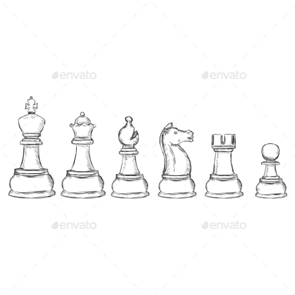 Set of Sketch Chess Figures  - Sports/Activity Conceptual