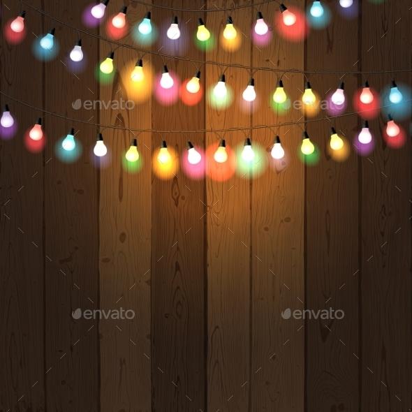 Christmas Lights on Wooden Background - Christmas Seasons/Holidays