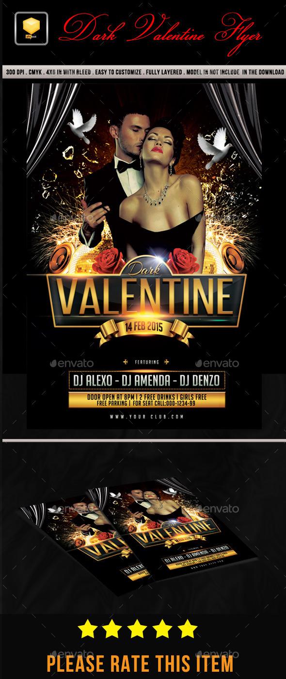Dark Valentine Flyer - Clubs & Parties Events