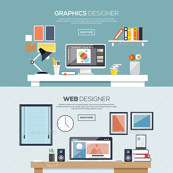 Flat Designed Banners - Computers Technology