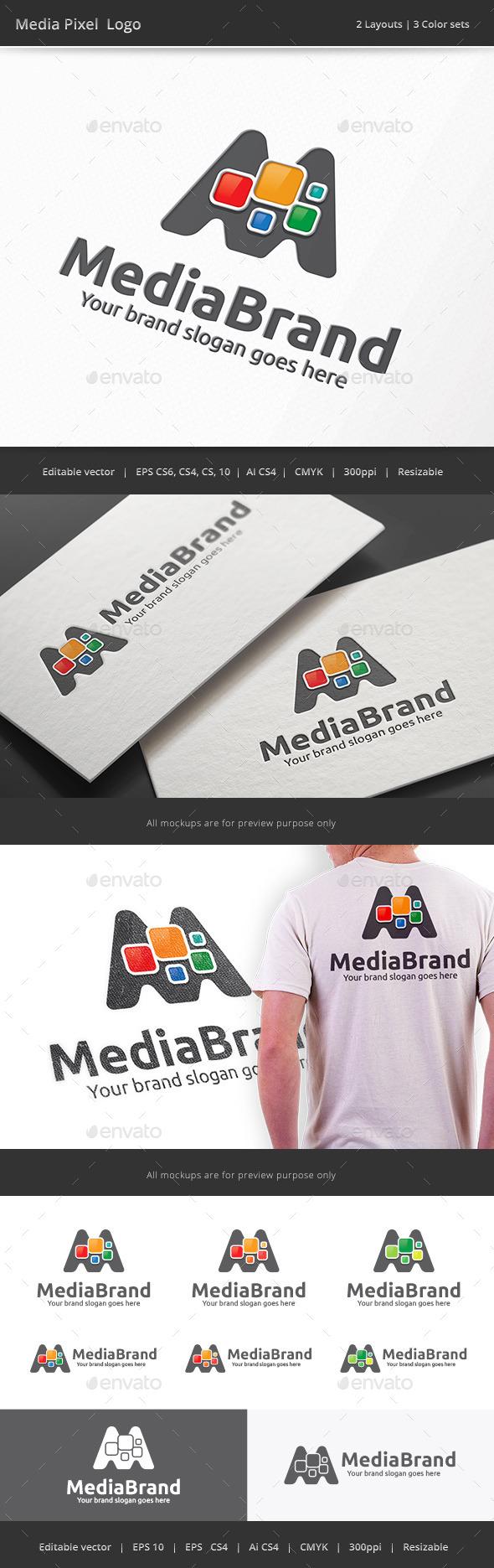 Media Pixel Letter M Logo - Letters Logo Templates