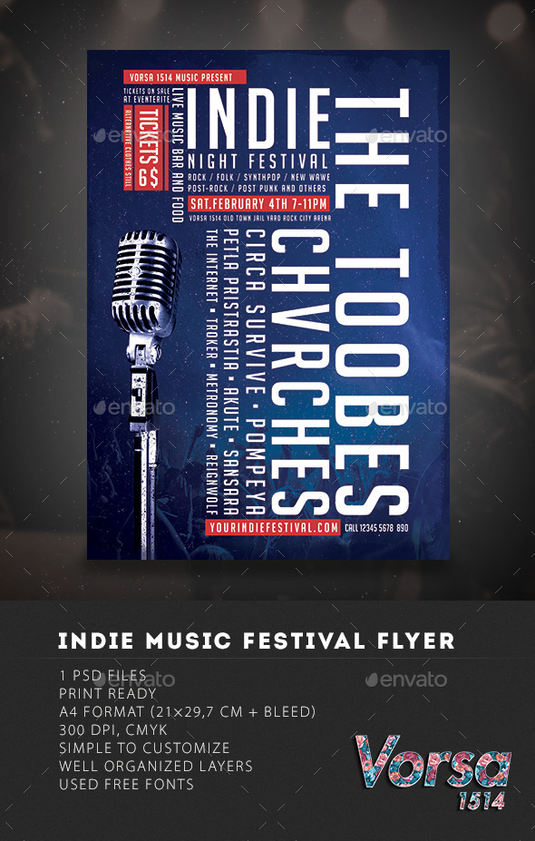 Indie  Festival Music Flyer - Clubs & Parties Events