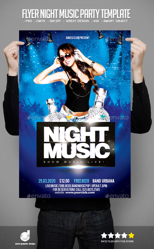 Flyer Night Music Party Template - Clubs & Parties Events