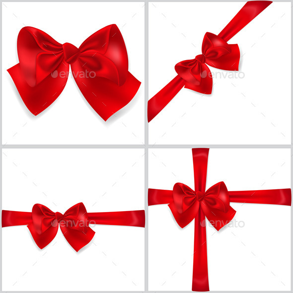 Red Bows Made of Ribbons - Decorative Symbols Decorative