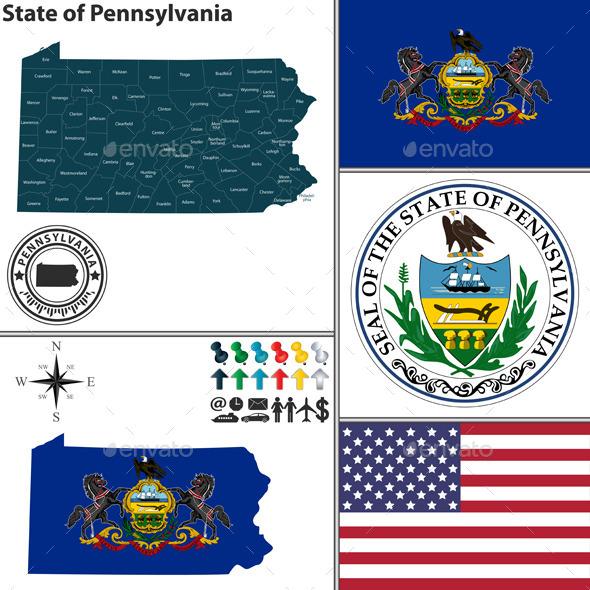 Map of State Pennsylvania, USA - Travel Conceptual