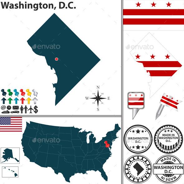 Map of Washington, D.C., USA - Travel Conceptual