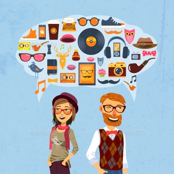 Hipster Speech Bubble - Decorative Vectors
