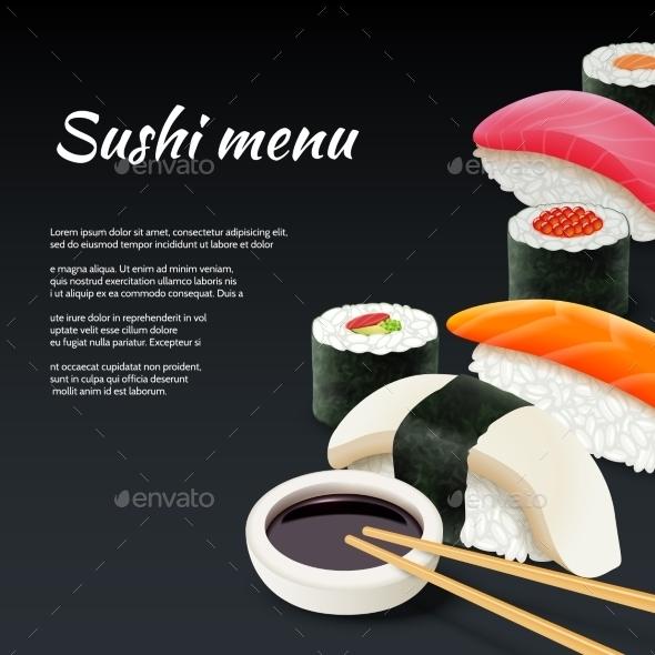 Sushi on Black Background - Food Objects