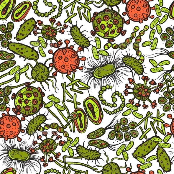 Bacteria And Virus Seamless Pattern - Backgrounds Decorative