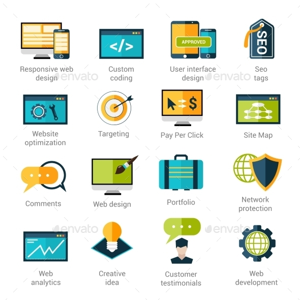 Web Development Icons Set - Technology Icons