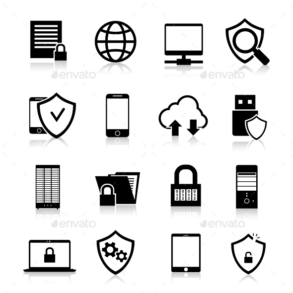 Data Protection Icons - Web Elements Vectors