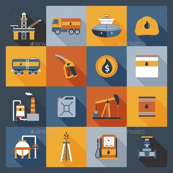 Oil Industry Icons Flat - Web Elements Vectors