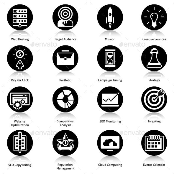 Seo Icons Black - Web Elements Vectors