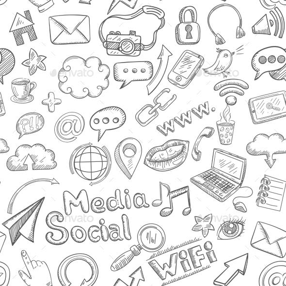 Social Seamless Doodle - Technology Conceptual