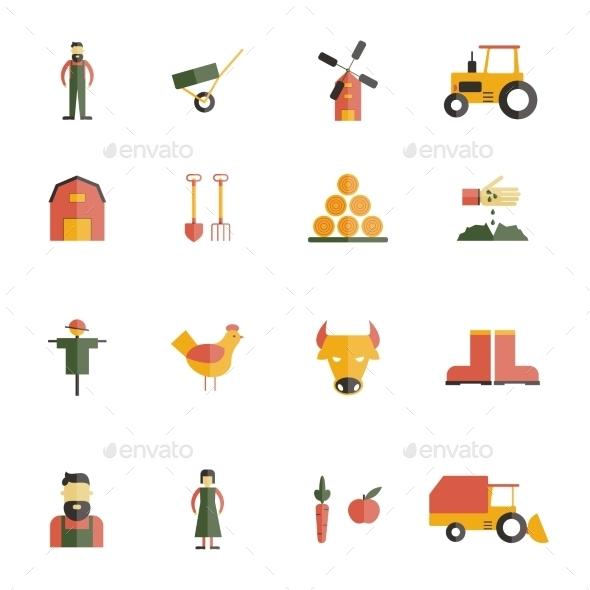 Farm Icon Flat - Food Objects