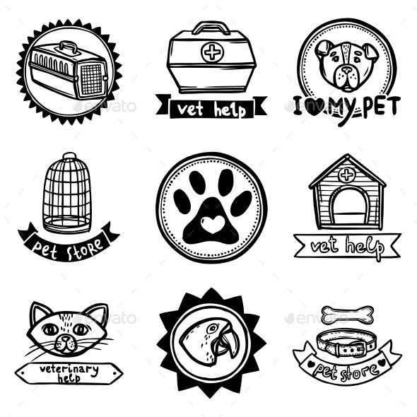 Veterinary Emblems Set - Health/Medicine Conceptual