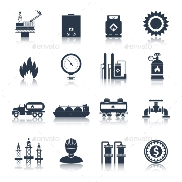Gas Icons Black - Industries Business