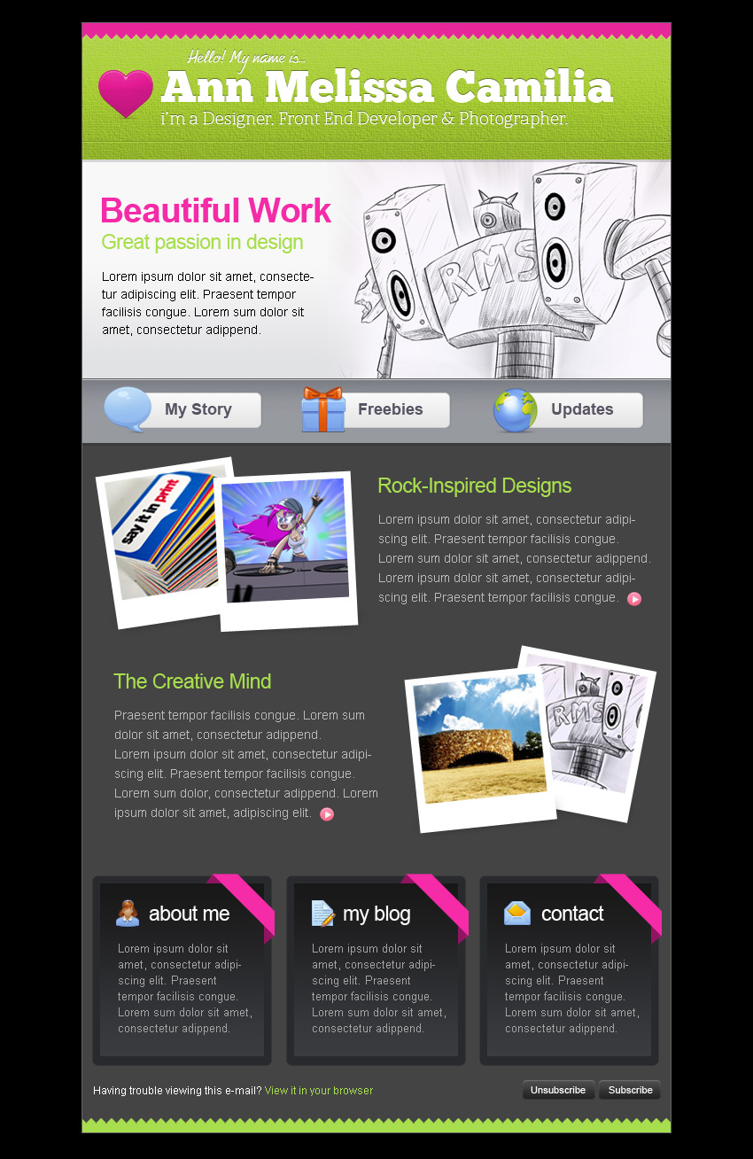 Creative Portfolio HTML Email Template by berber | ThemeForest
