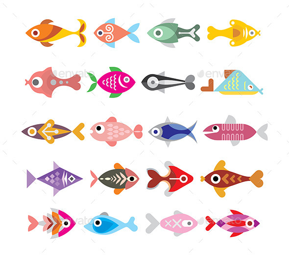 Fish Icon Set - Animals Characters