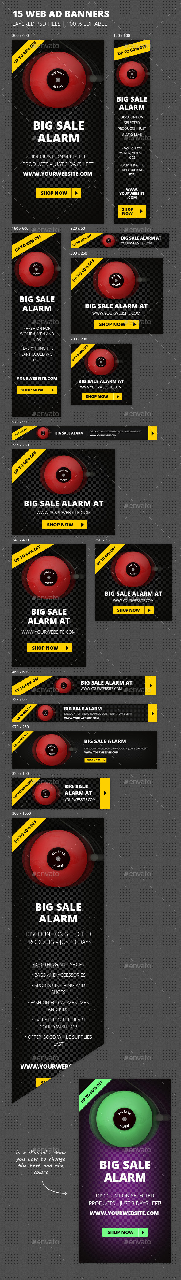 Online Marketing 'Sale Alarm' Web Banners - Banners & Ads Web Elements