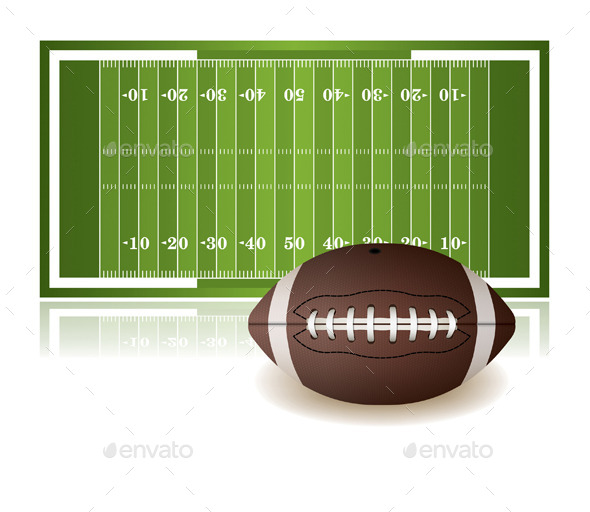 American Football Field and Ball Isolated - Sports/Activity Conceptual