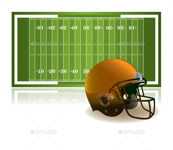 American Football Helmet and Field - Sports/Activity Conceptual
