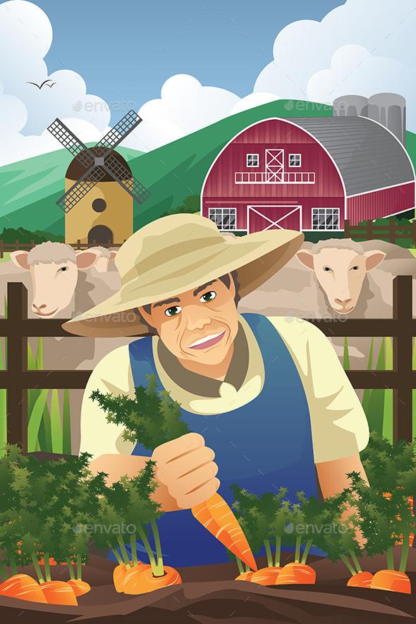 Farmer Harvesting Carrots - People Characters