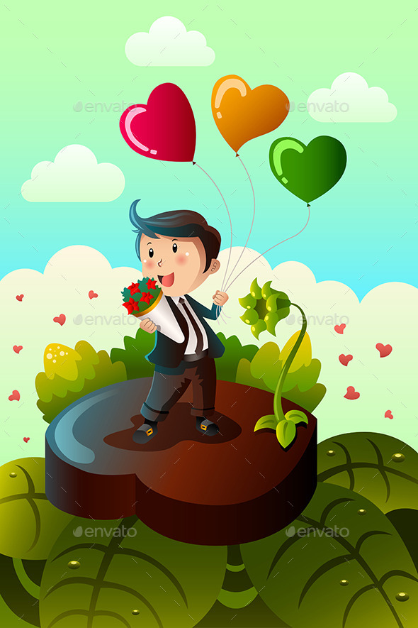 Man Carrying Heart Shaped Balloons and Red Roses - Valentines Seasons/Holidays