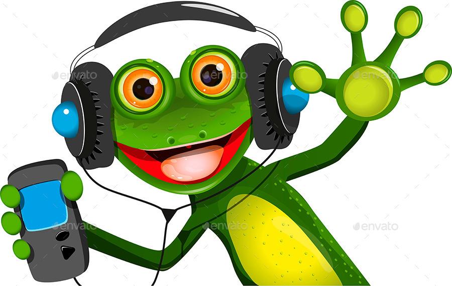 Frog In Headphones