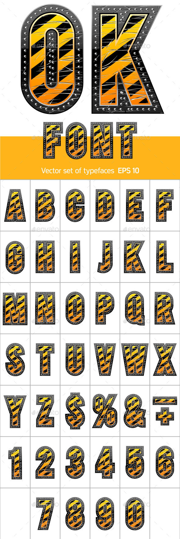 Letters in Black and Yellow Danger Stripes - Decorative Symbols Decorative