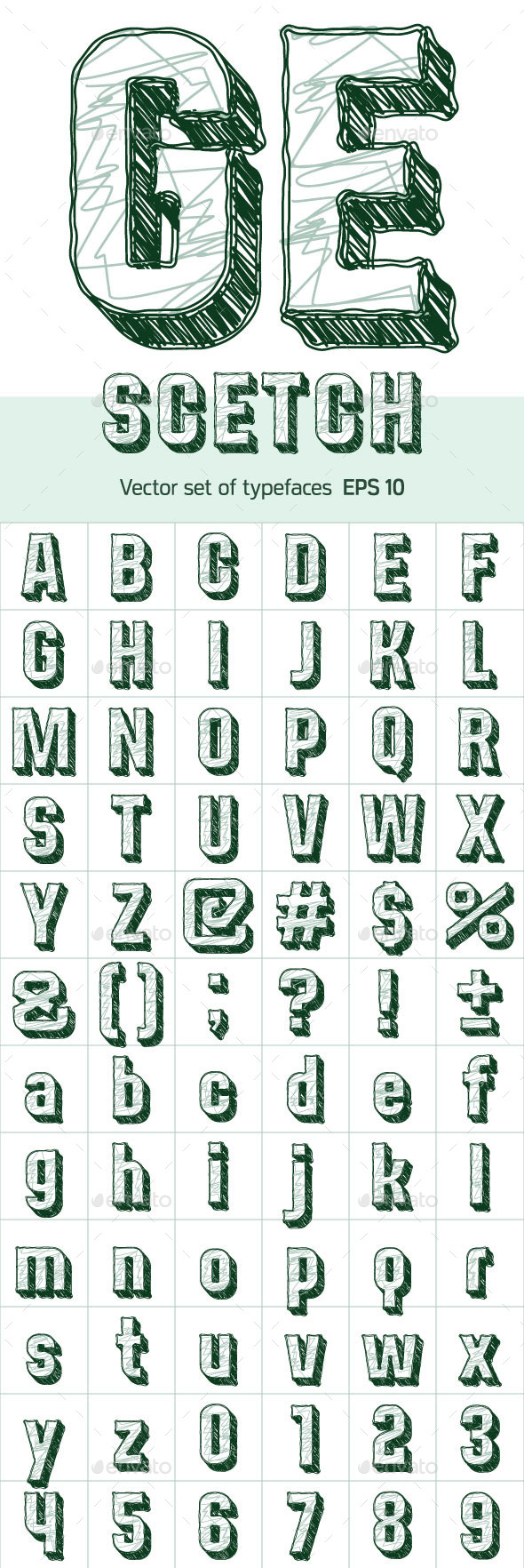 Sketch Alphabet - Decorative Symbols Decorative