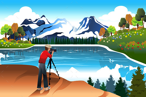 Photographer Taking Picture of a Beautiful Nature - Nature Conceptual