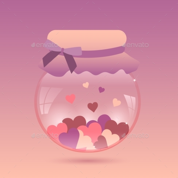 Glass Jar with Heart - Valentines Seasons/Holidays