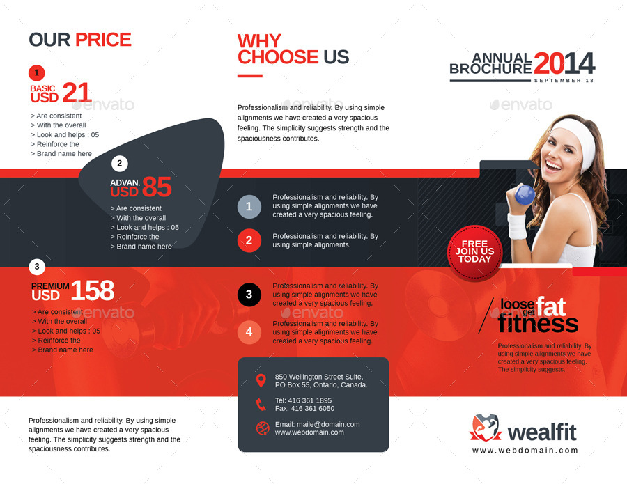 WealFit   Fitness - Gym Trifold Brochure by GraphicArtist ...