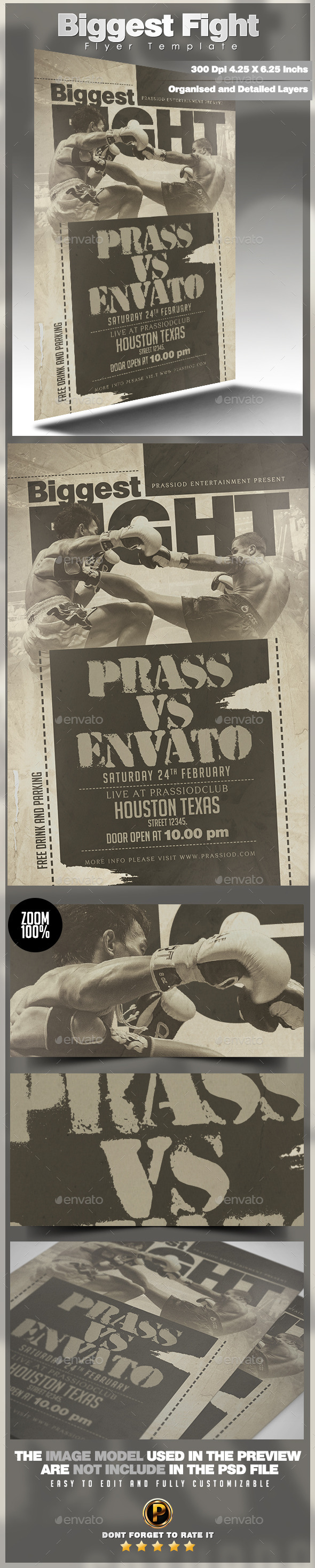 Biggest Fight Flyer Template - Sports Events