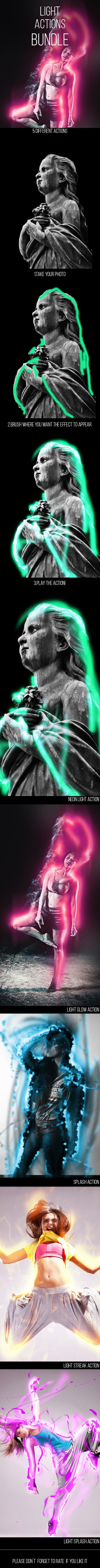 Light Photoshop Actions Bundle - Photo Effects Actions
