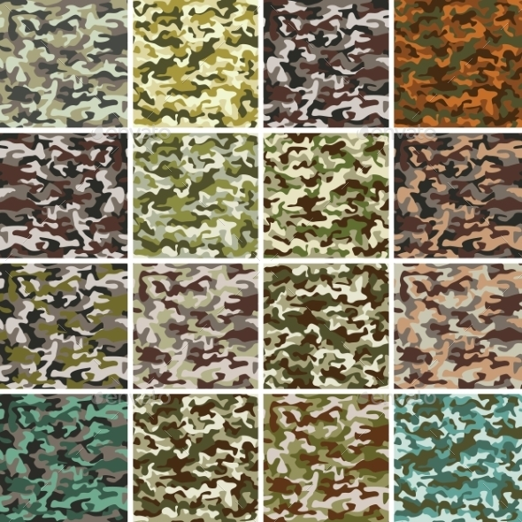 Set of Seamless Camouflage Patterns - Backgrounds Decorative