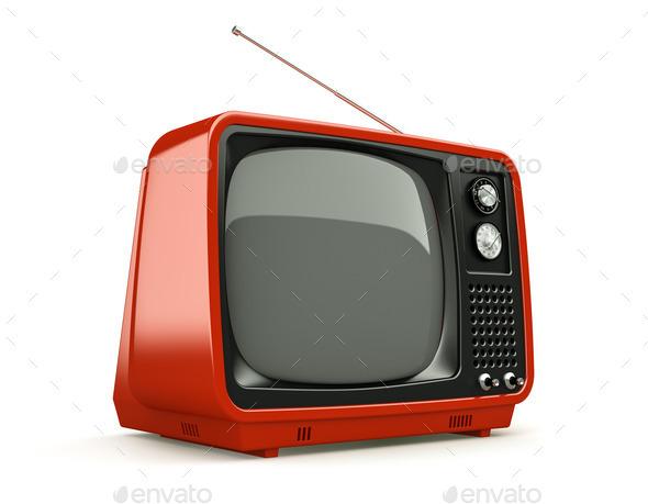 Red retro TV isolated on white background - Stock Photo - Images