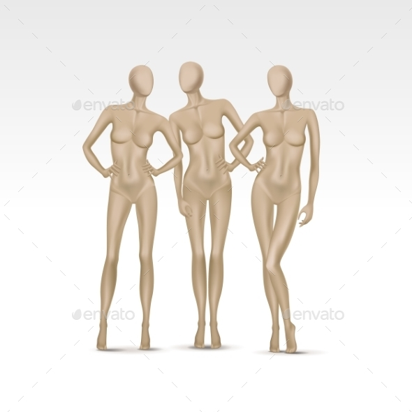 Set of Isolated Female Mannequins - Miscellaneous Vectors