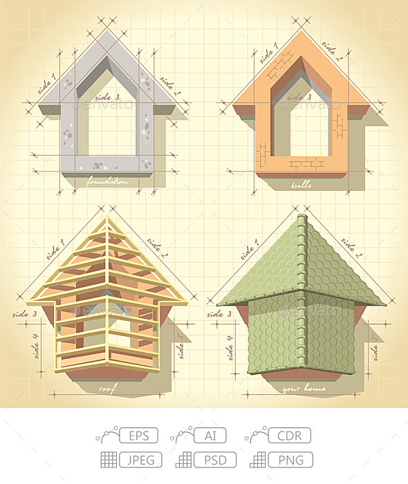 Drawing of Building a House - Miscellaneous Conceptual