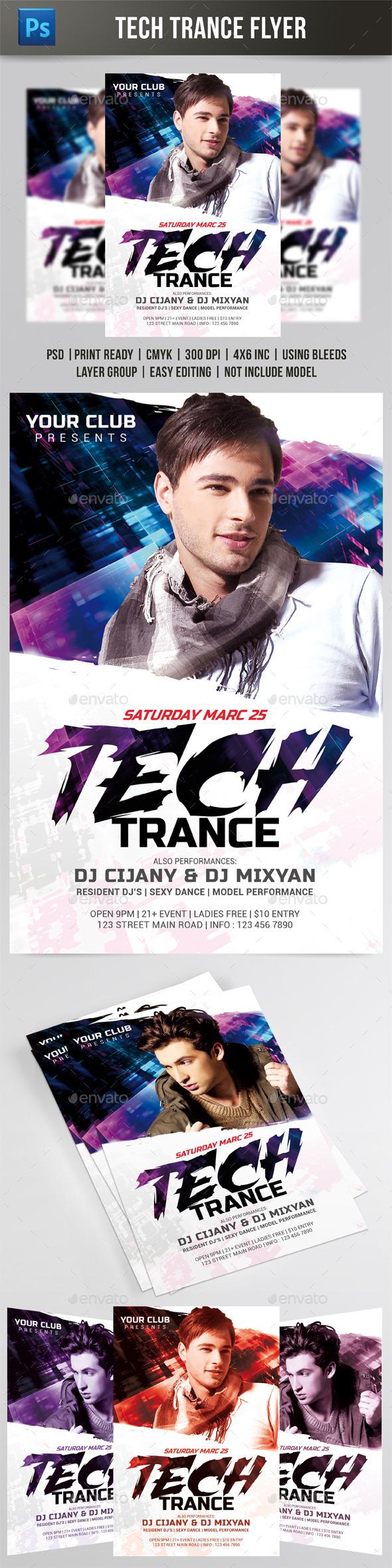 Tech Trance Flyer - Events Flyers