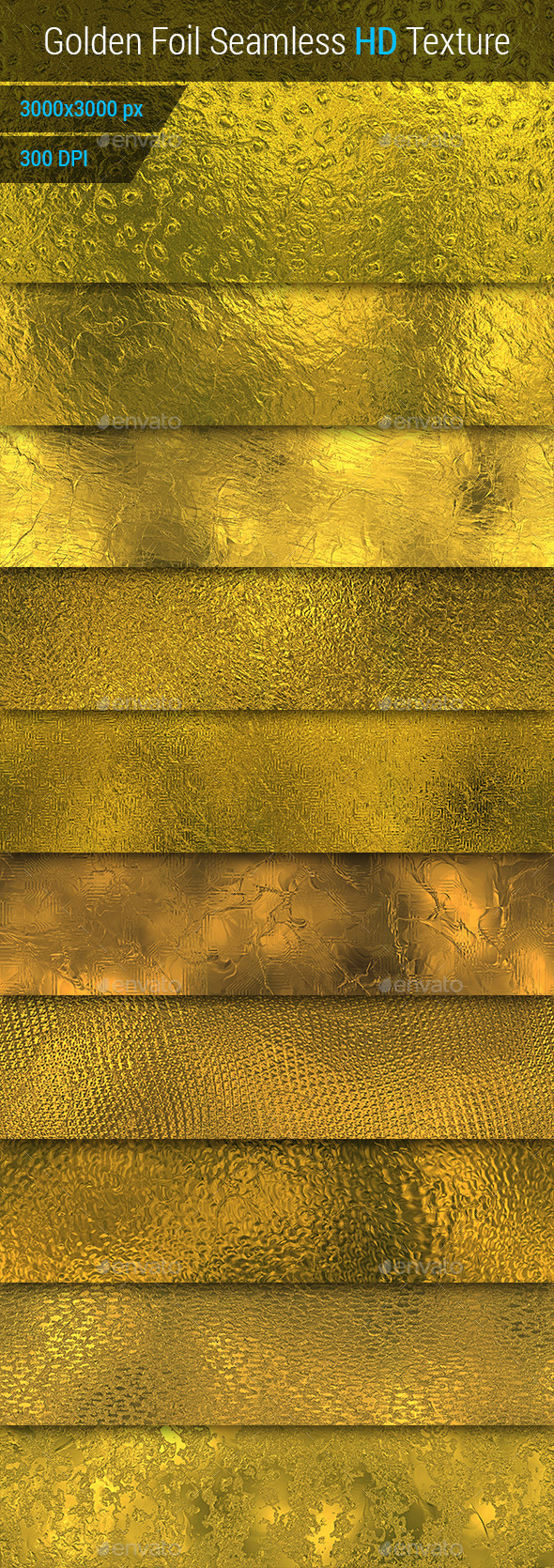 Golden Foil Seamless HD Textures Set - Metal Textures