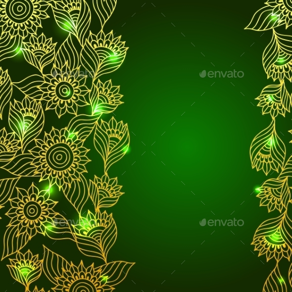 Background with Gold Lace Floral Ornament - Backgrounds Decorative