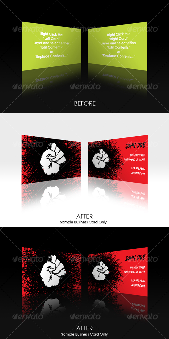 Horizontal Business Card 3D Rendering - Business Cards Print