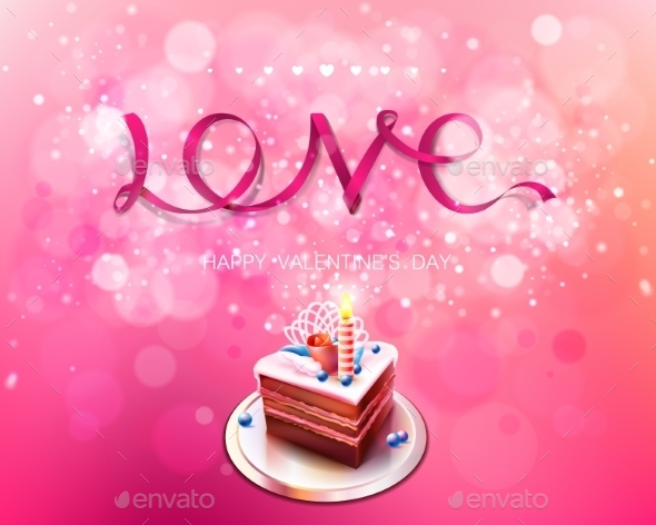 Love Pink Ribbon with Cake Background - Birthdays Seasons/Holidays