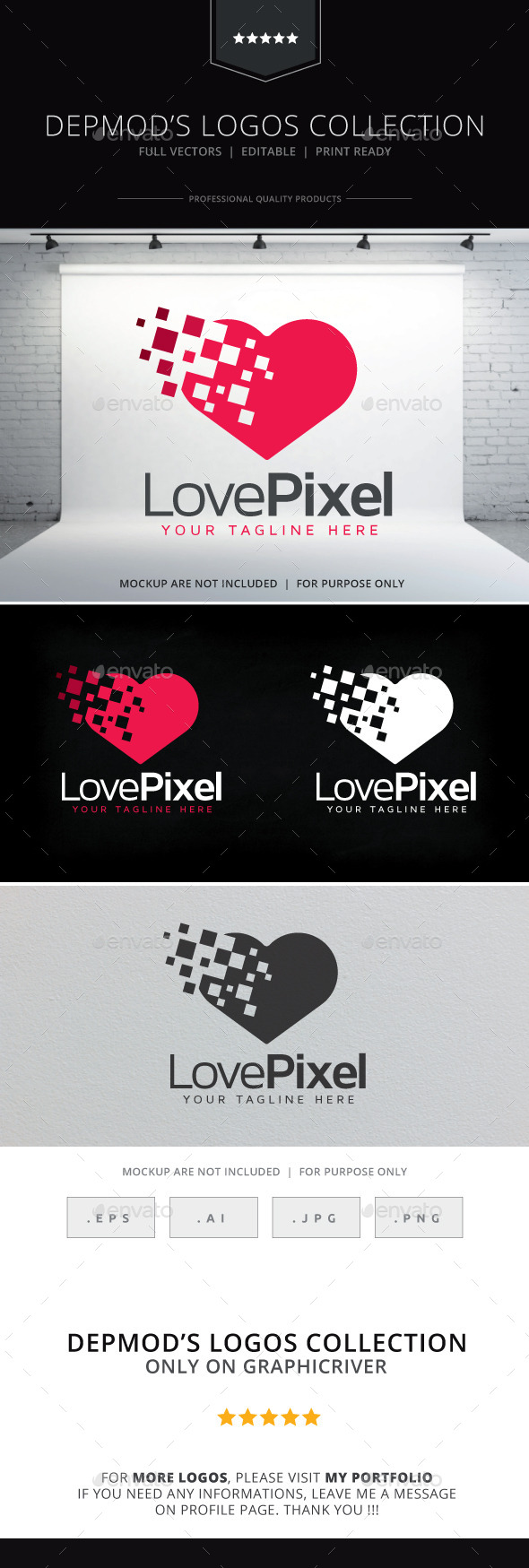 Love Pixel Logo - Symbols Logo Templates