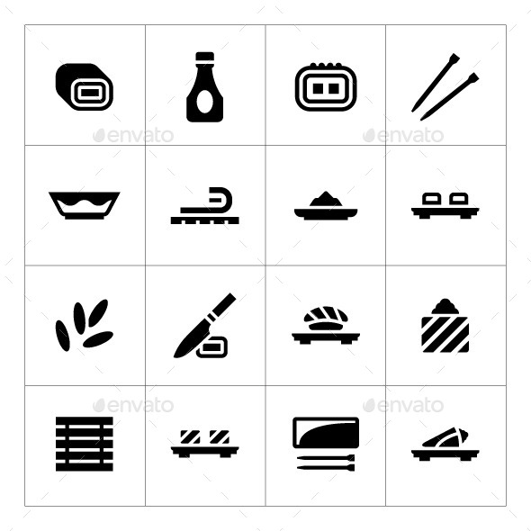 Set Icons of Sushi - Food Objects