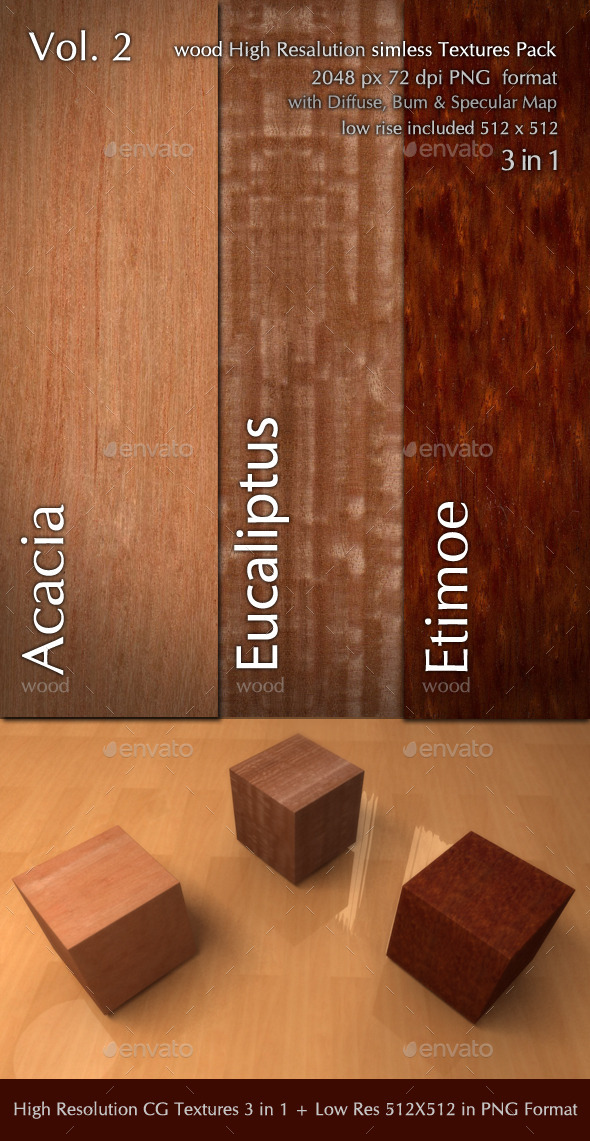 Wood CG Textures High Resulution  3in1 vol.2 - 3DOcean Item for Sale