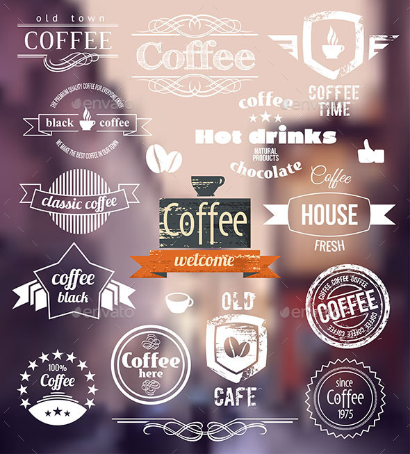 Coffee Badges Old Town Stamp Concept - Food Objects