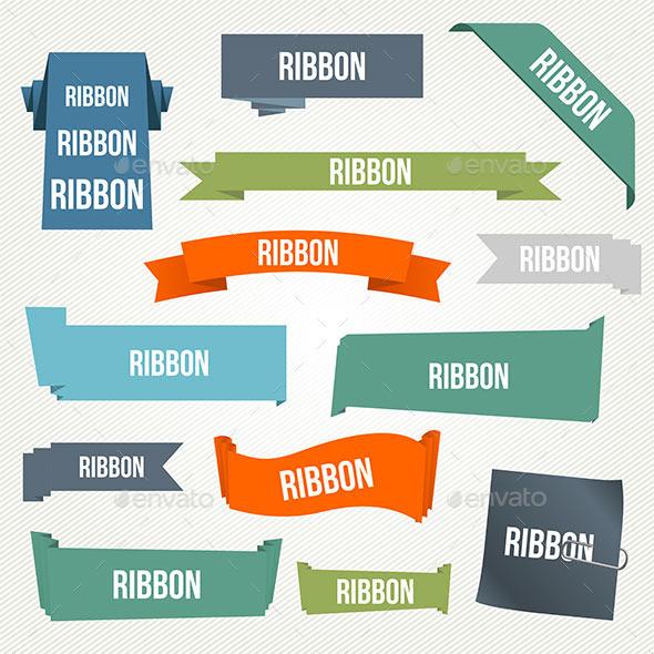 Ribbon and Banner Set - Web Elements Vectors
